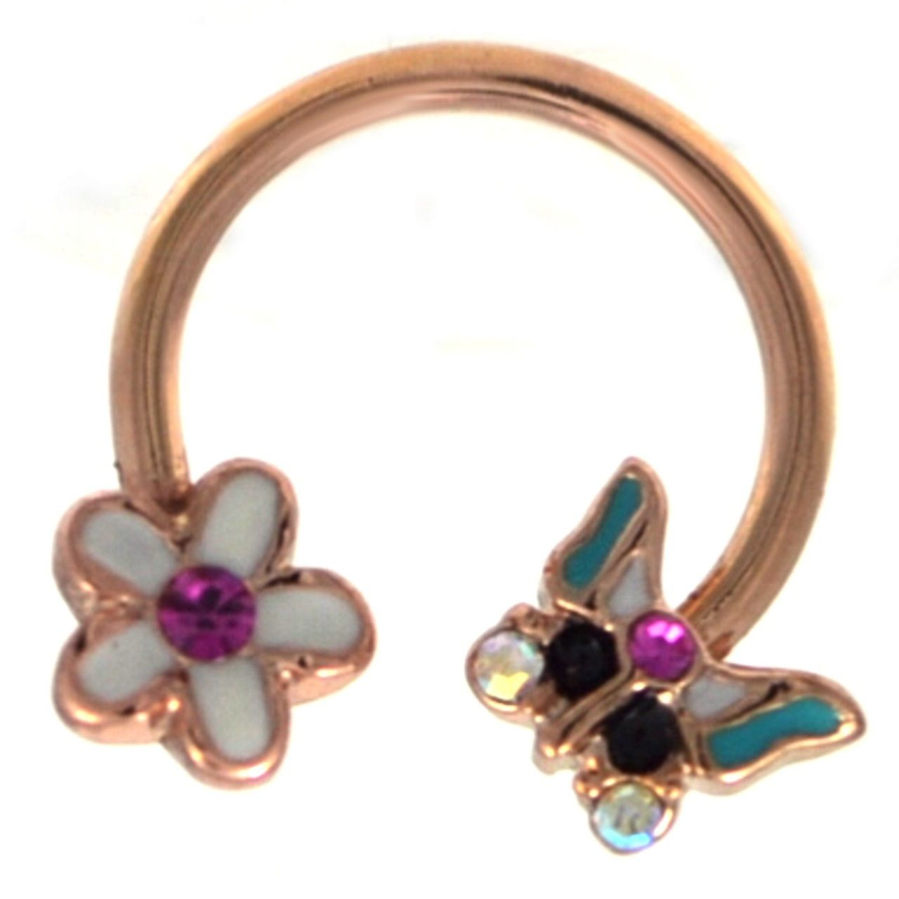 Body piercing retainer  Flower u Butterfly Rose Goldtone Horseshoe Ring  Pinterest