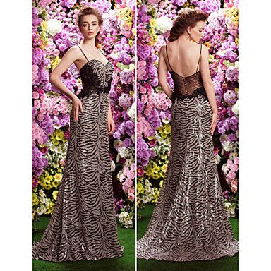 Formal Evening Dress A-line Spaghetti Straps Sweep/Brush Train Sequined Dress – USD $ 299.99