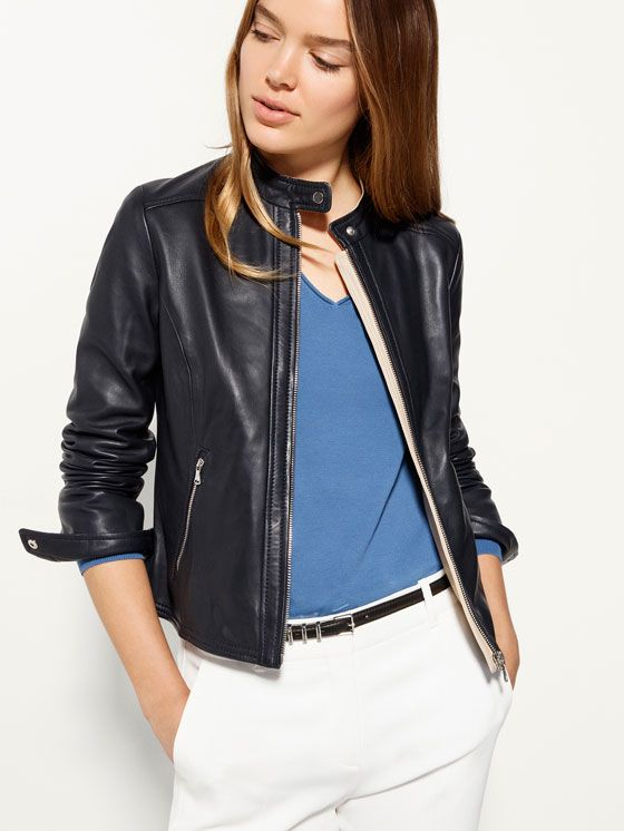 Navy Blue Leather Jacket Clothes Jackets Leather Navy Blue