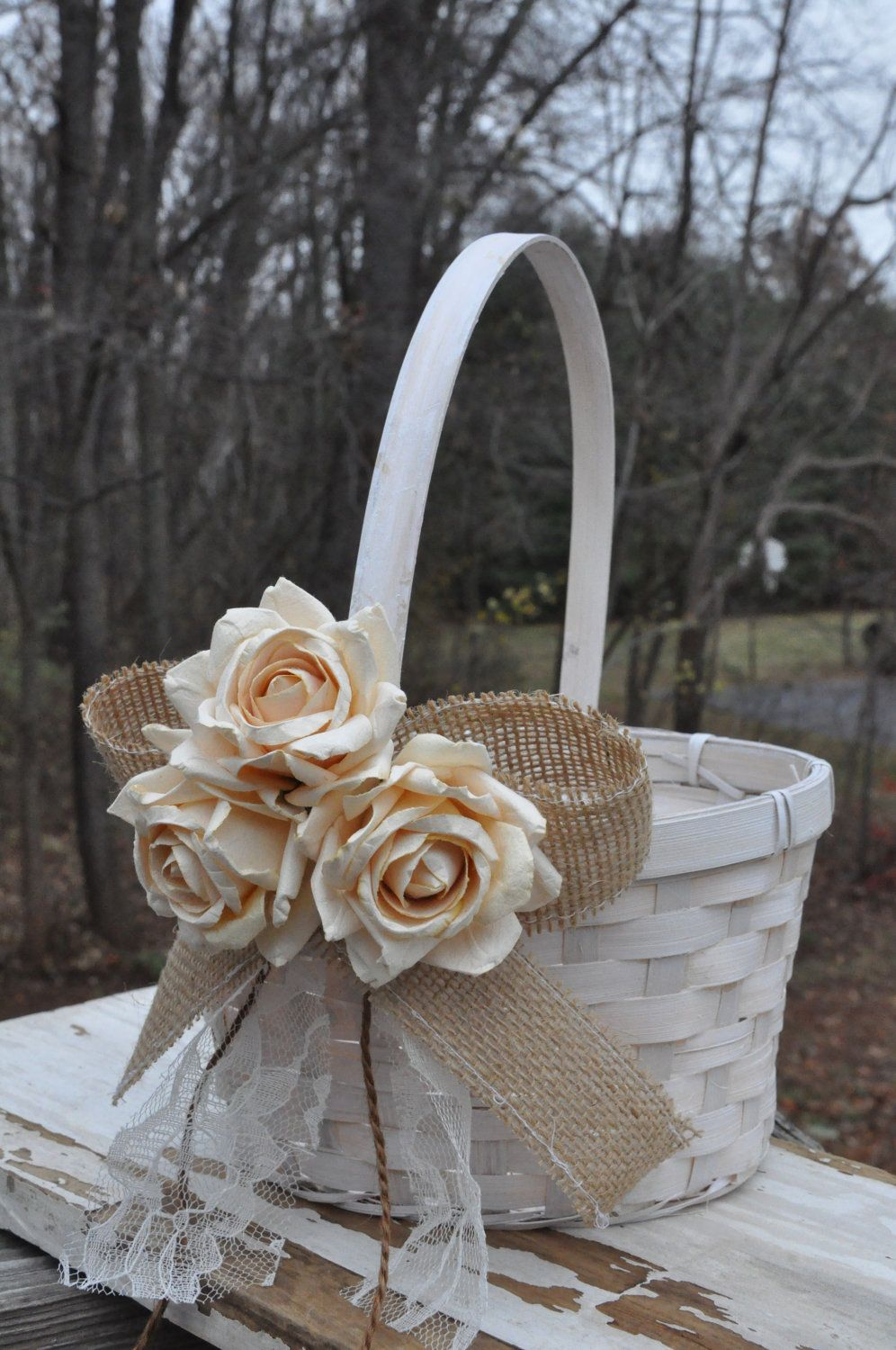 Burlap And Lace Flower Girl Basket Rustic Flower Girl Basket