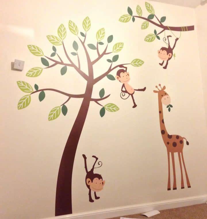 Monkey Tree Giraffe Jungle Nursery Wall Art Stickers Decals Graphics