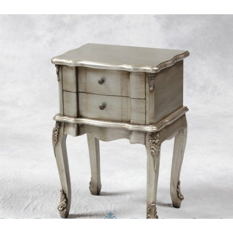 2 Drawer French Style Bedside Antique Silver
