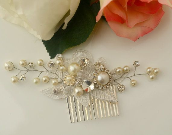 Vintage inspired art deco crystal rhinestone bridal hair comb wedding hair accessories bridal headpiece bridal comb ivory bridal hair comb