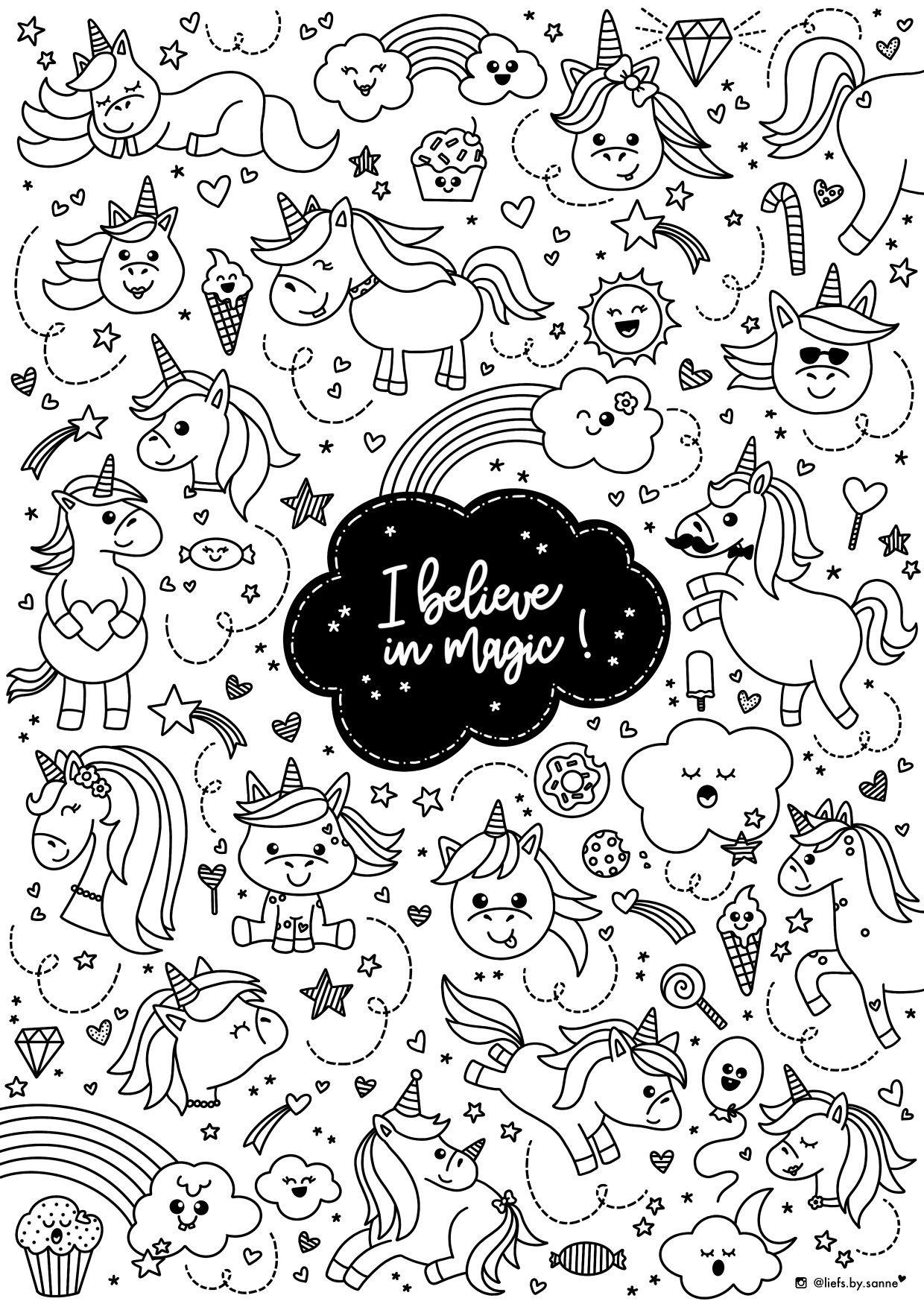 Unicorn Unicorn Eenhoorn Eenhoorns Kleurplaat Kleuren Coloring Page Kleurplaten Disney Kleurplaten Kleuren