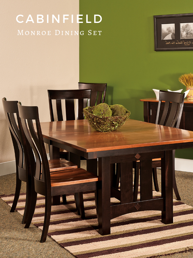The Monroe Amish dining room table and chairs set showcases ...