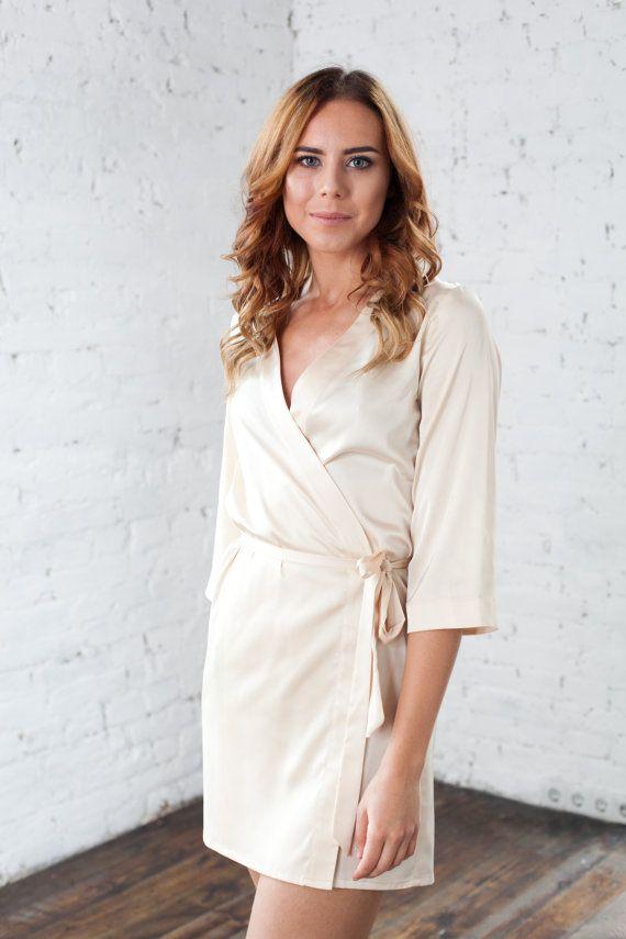 Cream Satin Dressing Gown, Luxury robe, Personalised robe, Satin ...