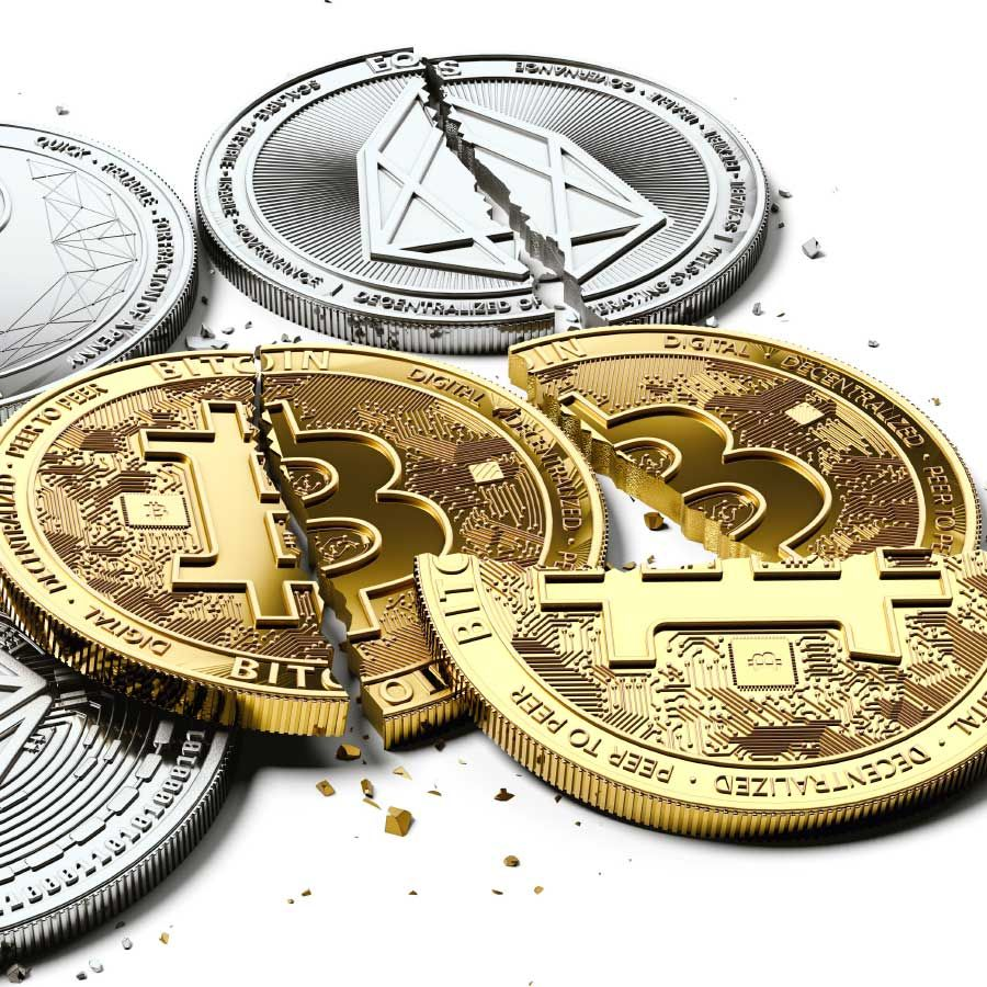 Stack Of Broken Cryptocurrencies Bitcoin Blockchain Technology Stock Illustration