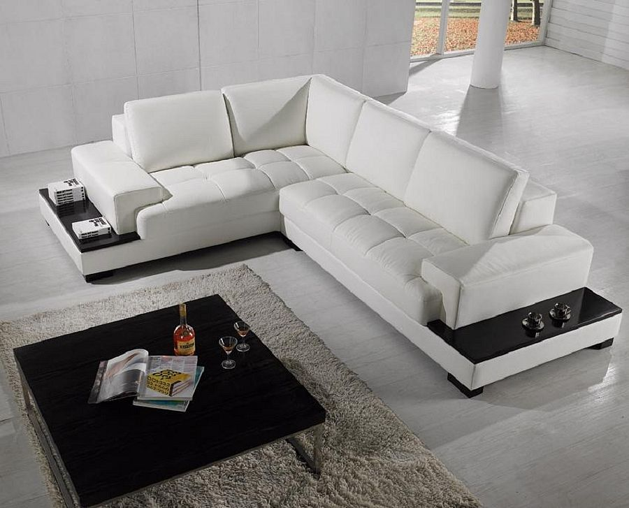 Fancy White Room With White Leatherette L Shaped Sofa Also Black