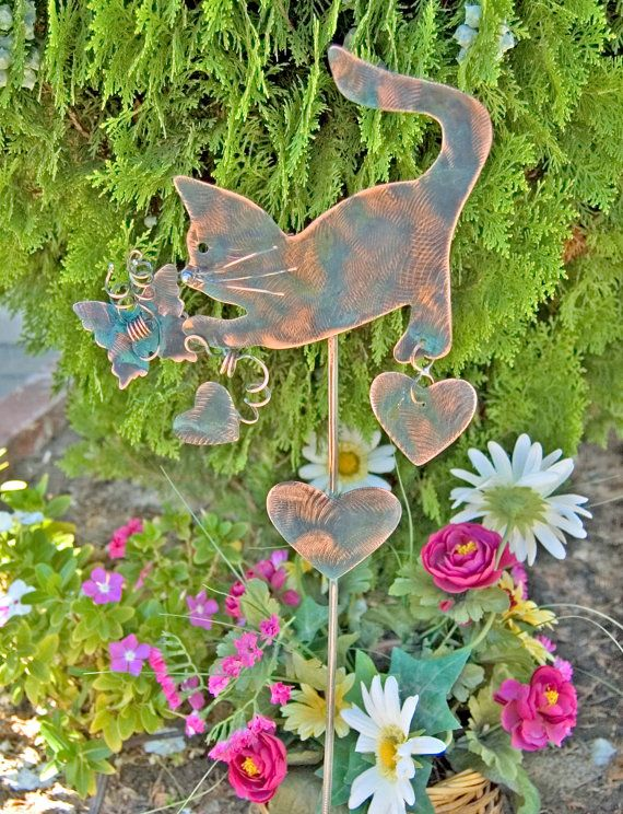 Cat Garden Stake Outdoor Metal Garden Art Copper Art Yard