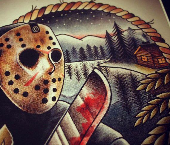 Jason voorhees tattoo art print tinta for Friday the 13th tattoos michigan
