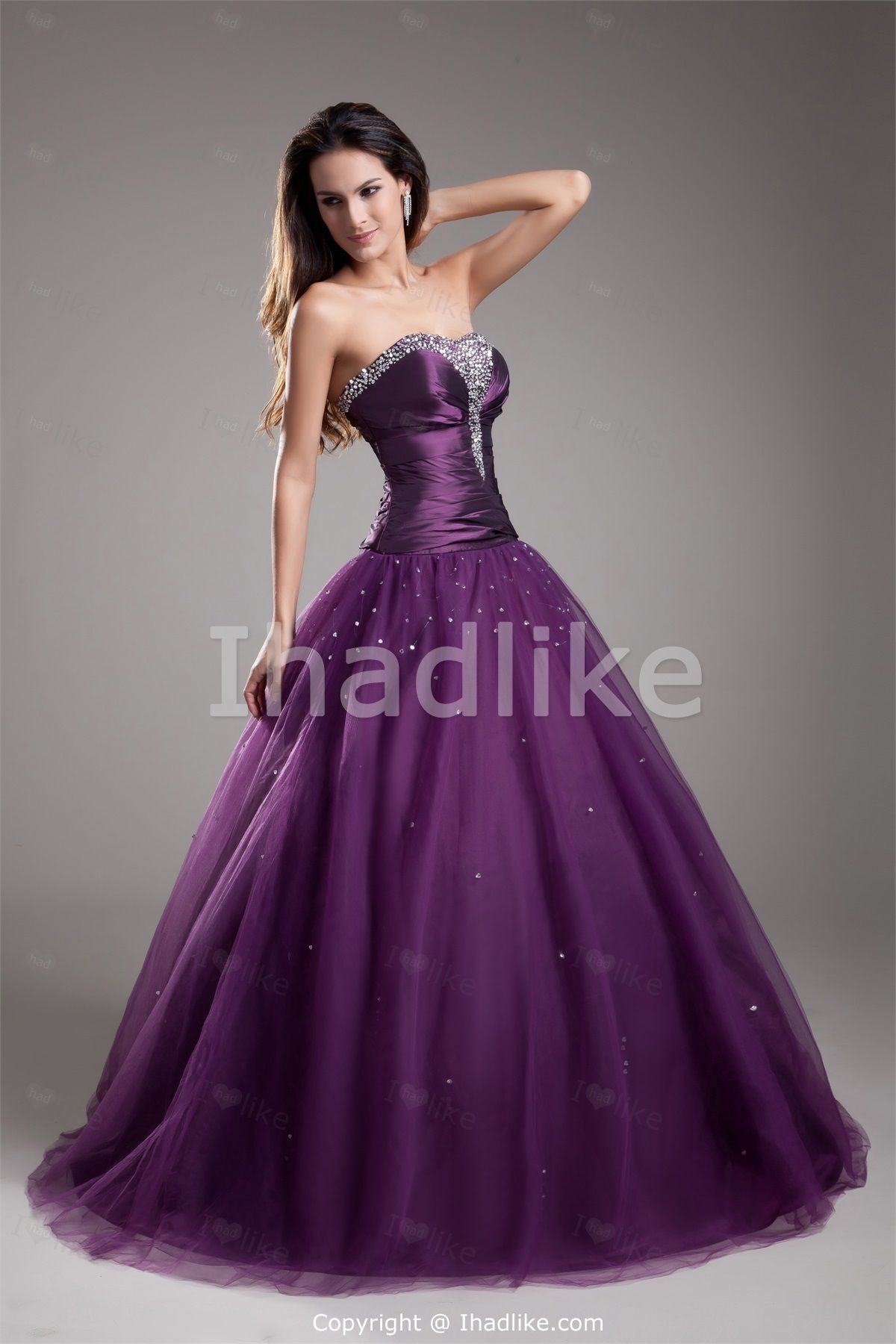 Ball gown prom dresses 2014 - Purple Taffeta Tulle Sweetheart Ball Gown Floor Length Beading Prom Dress 2014 Special Occasion