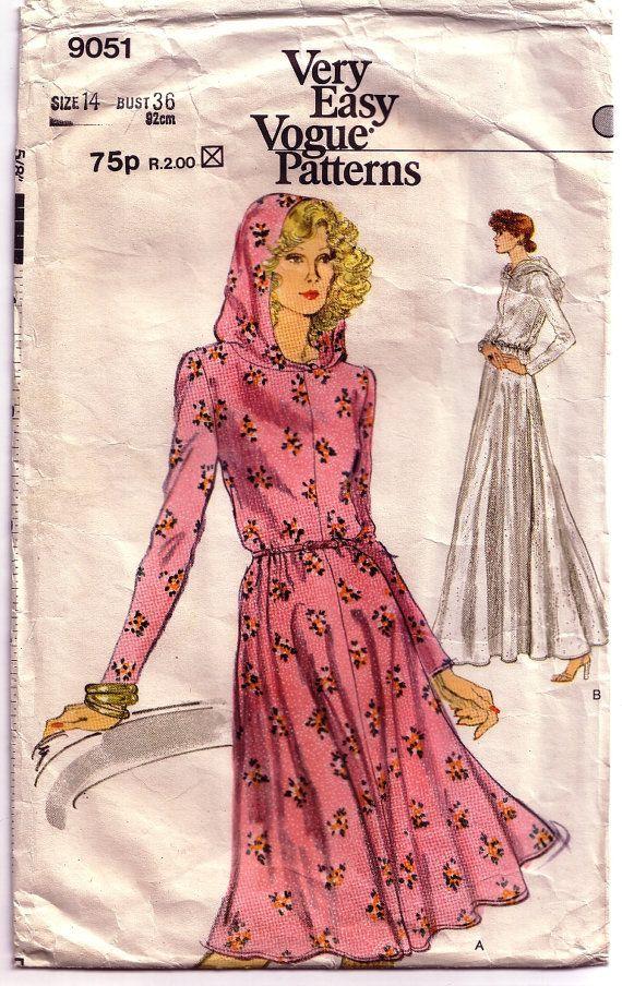 6dd76925099 Very Easy Vogue 9051. Vintage sewing pattern. 1970 s pattern for hooded  dress. www.hurdyburdy.etsy.com