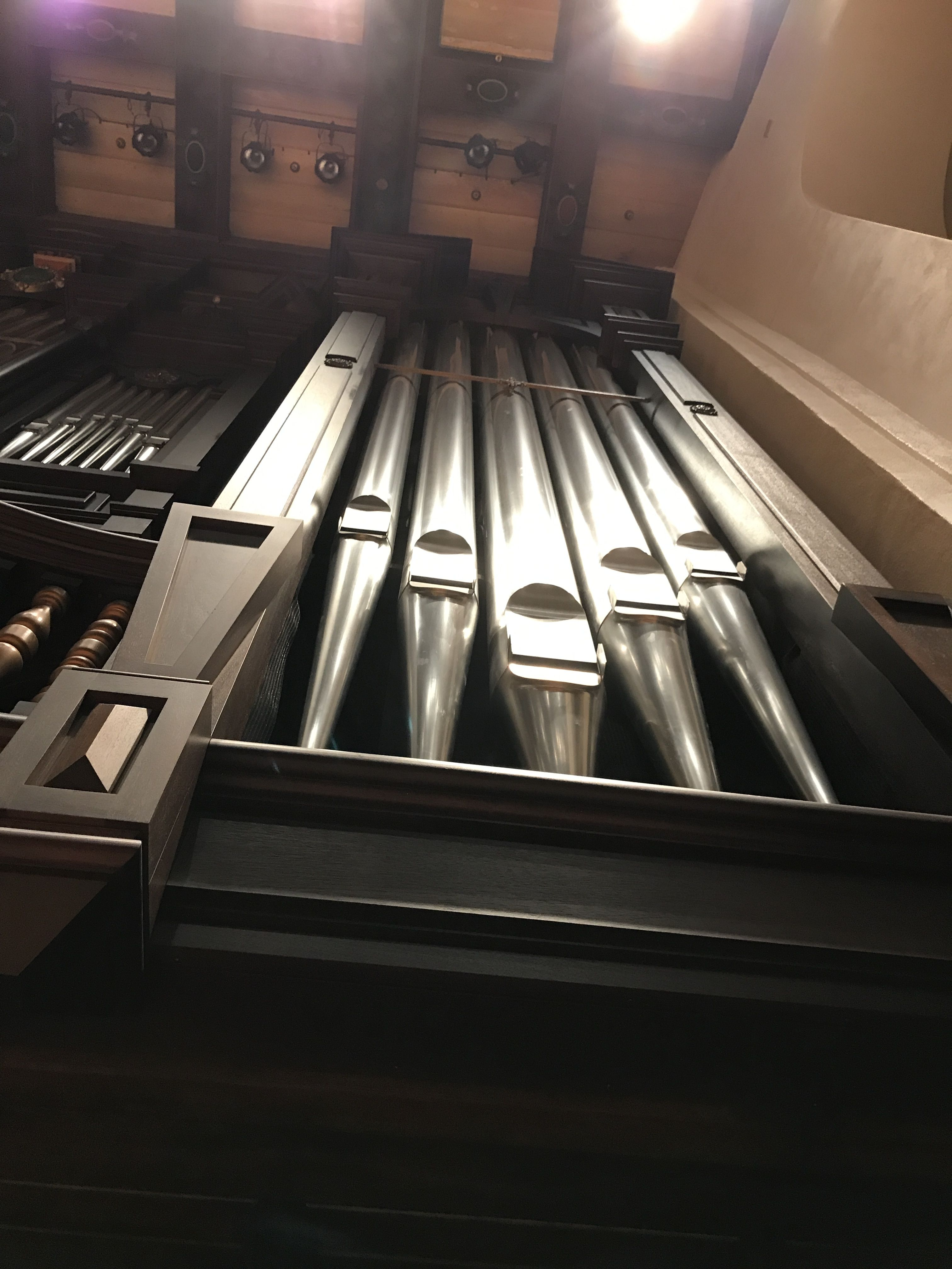 Organ pipes in music hall. Royalty free. Permission