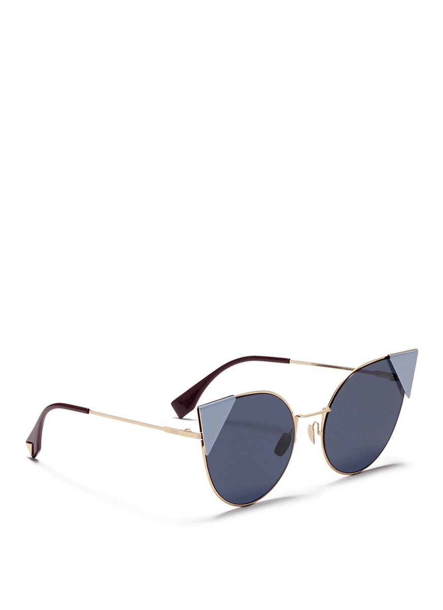 0b882dc3d6a9 Fendi -  lei  Flat Metal Cat Eye Sunglasses