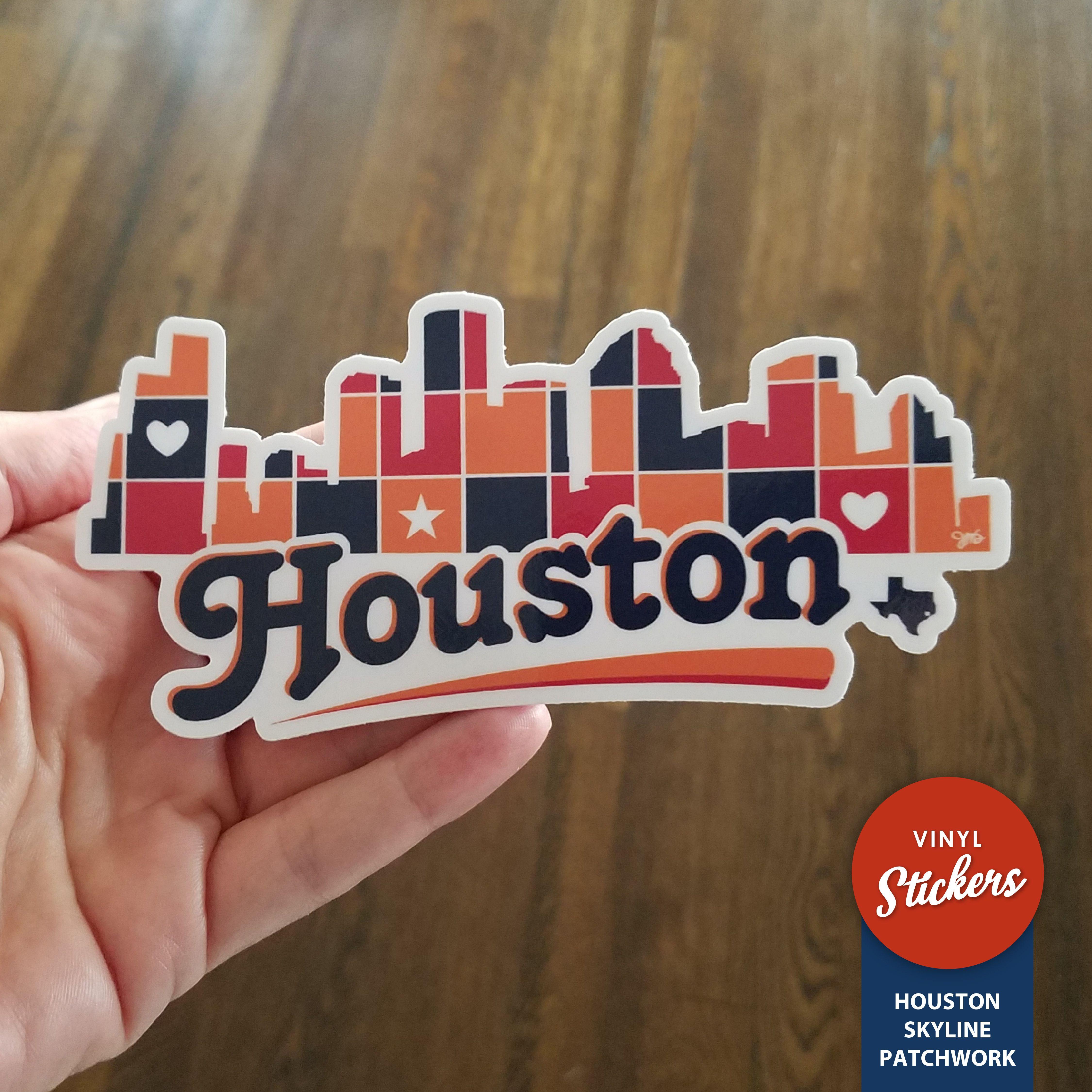 Houston skyline patchwork stickers houston texas gifts