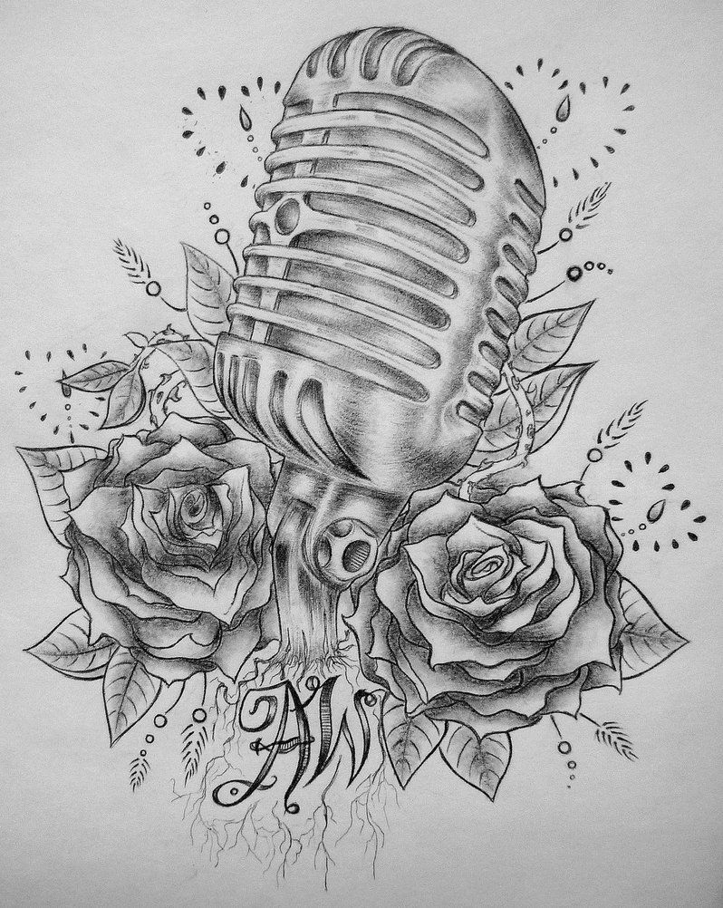 Old Style Mic Tattoo By Madeline Cornish On Deviantart Microphone Tattoo Mic Tattoo Music Tattoos