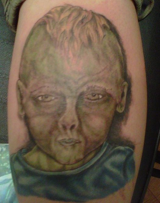 Ugly Kid Portrait Bad Tattoos Funny Regrettable Terrible Awful Ugliest