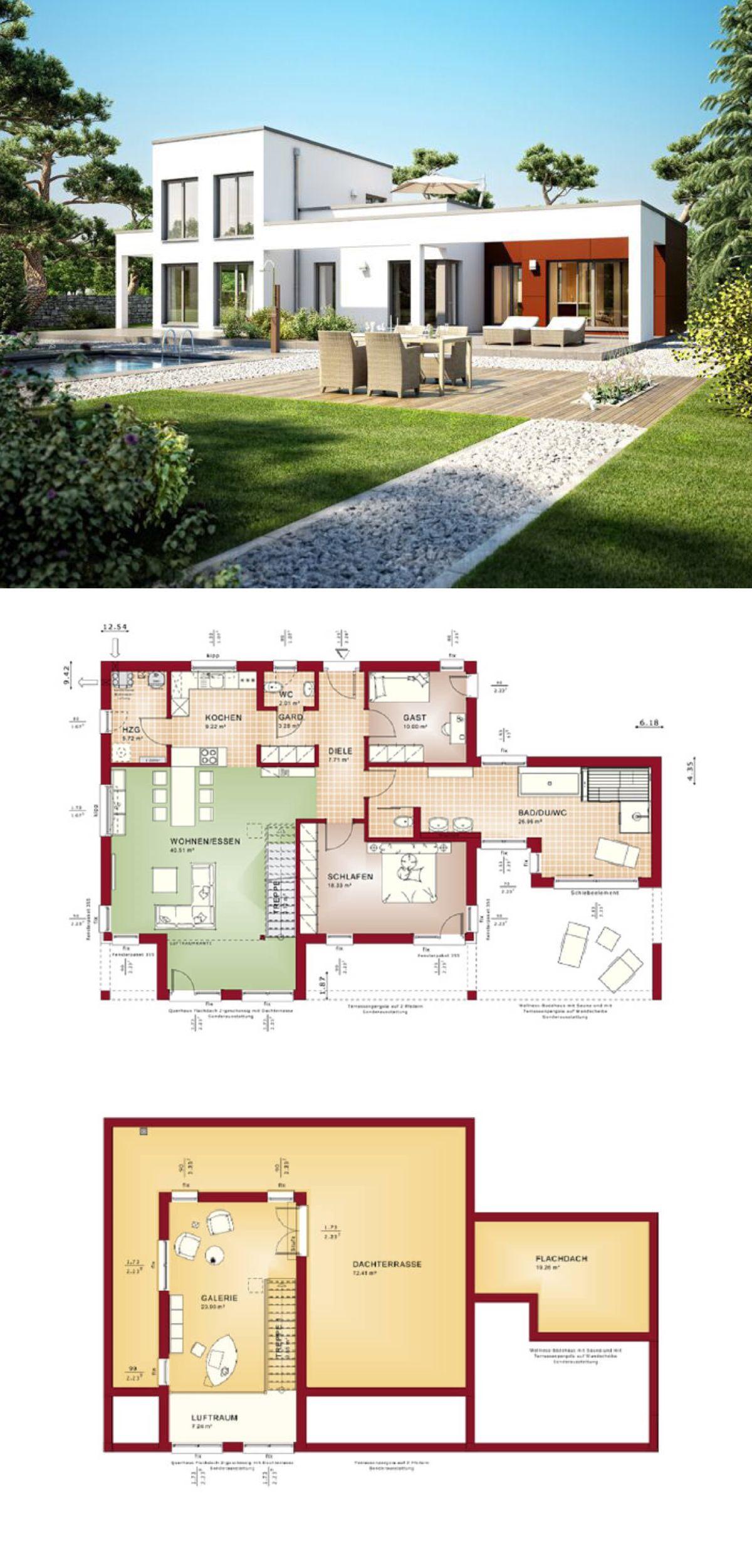 bungalow mit dachterrasse haus evolution 100 v10 von bien zenker offener grundriss terrasse pool garten bauhausstil gartenmobel flachdach