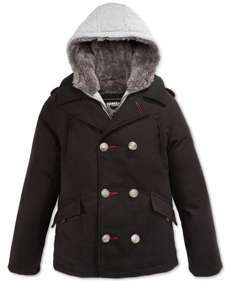 a80031fe596f Hawke   Co. Boys  Vestee Wool Peacoat Jacket