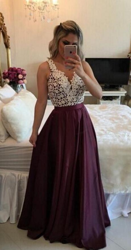 Custom Made Charming Burgundy Prom Dress aec8a4144