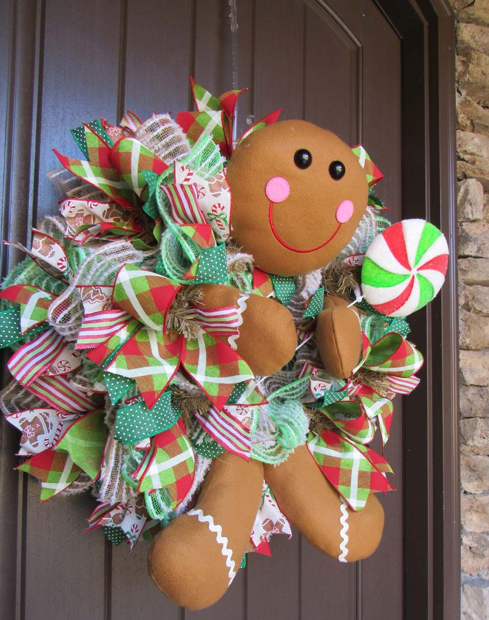 2018 Gingerbread Boy Wreath Tutorial Ribbon wreath