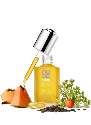 Discover NUDE Skincare's NEW | ProGenius Rescue Oil. Rescue skin with clarifying, antioxidant nutrition.