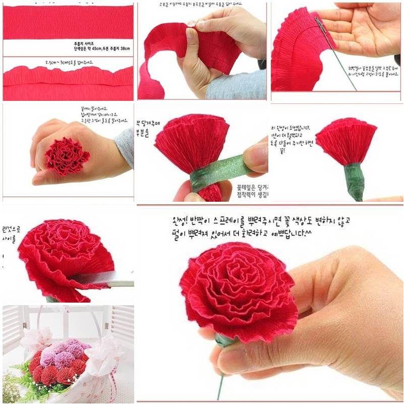 Diy beautiful crepe paper carnation crepe paper crepes for Crepe paper wall flowers