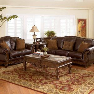 Leather Sofa With Carved Wood Trim Home Decor Furniture Living