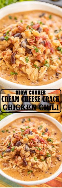 SLOW COOKER CREAM CHEESE CRACK CHICKEN CHILI - RECIPES TUTOR #slowcookercrockpots