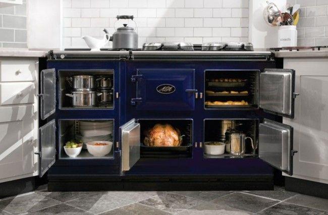 Aga Dark Blue Cooker Open                                                                                                                                                                                 More