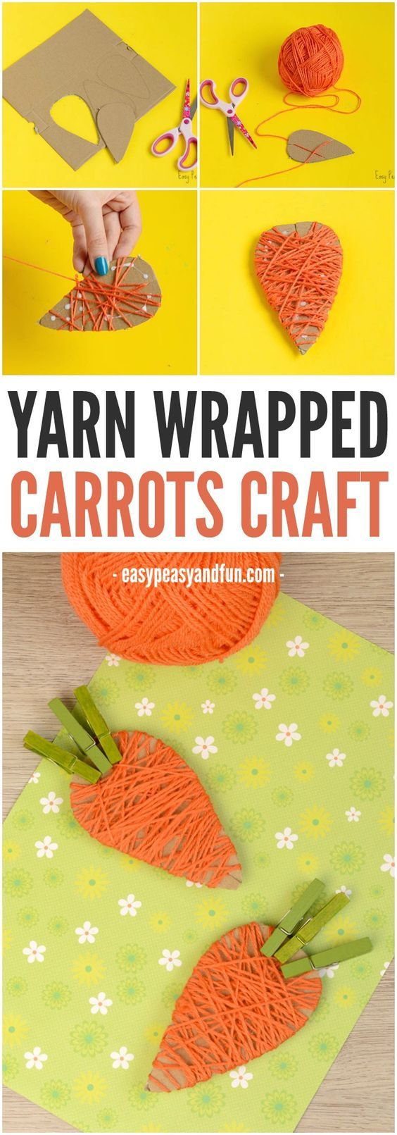 Yarn Wrapped Carrot Craft for Kids