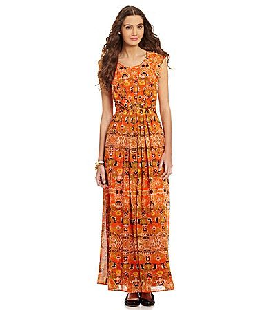 Gibson And Latimer Tribalprint Fluttersleeve Maxi Dress Dillards