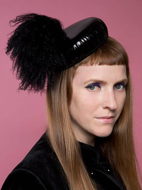 Black shiny pvc military look beret with upcycled sheepskin trim and purple  lining. ca38b6beaf4