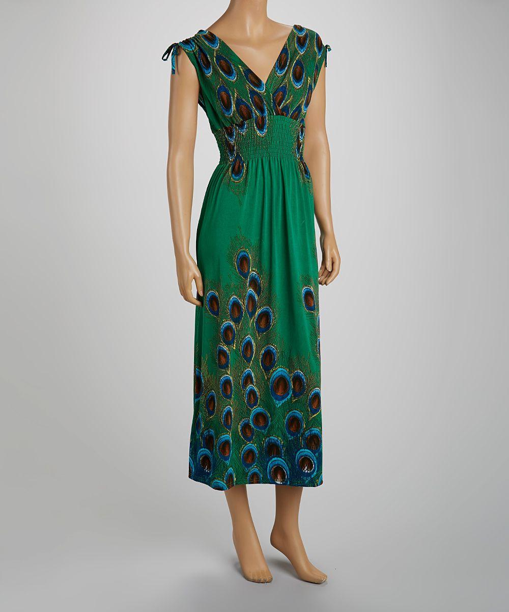 f42cb54d693 Green Smocked Peacock Maxi Dress