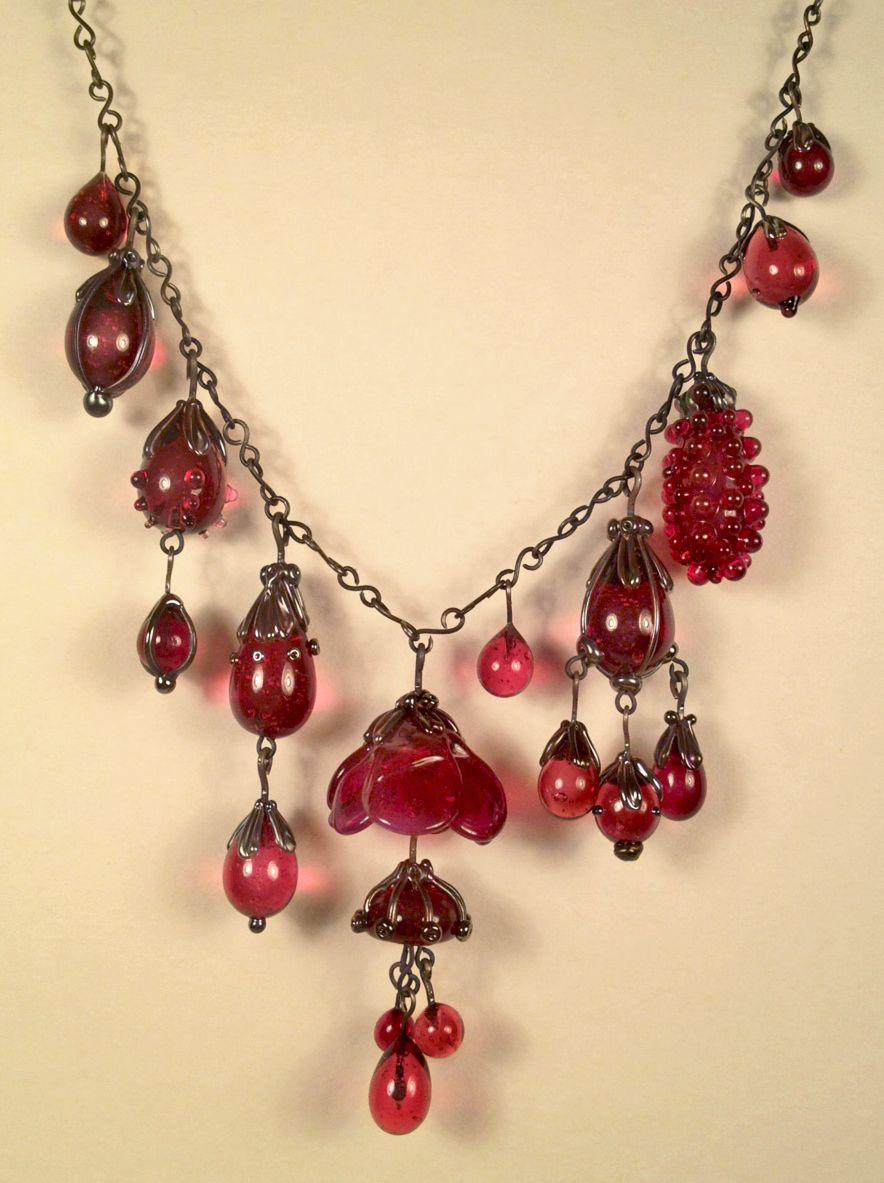 flamework cranberry hanging garden necklace www.alexisberger.com