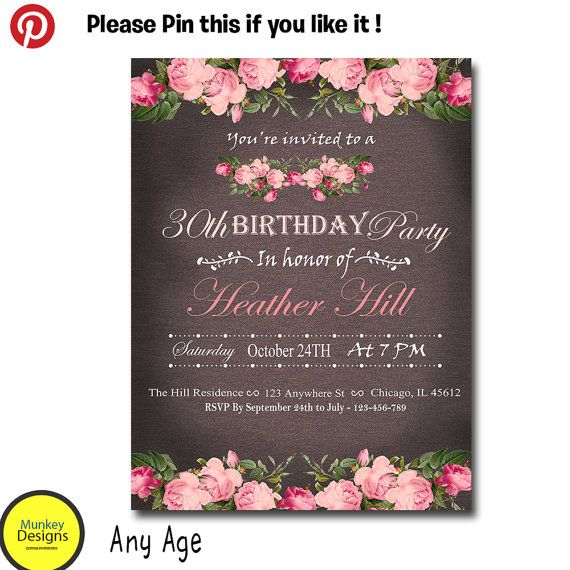 printable women birthday invitation 50th surprise by munkeydesigns