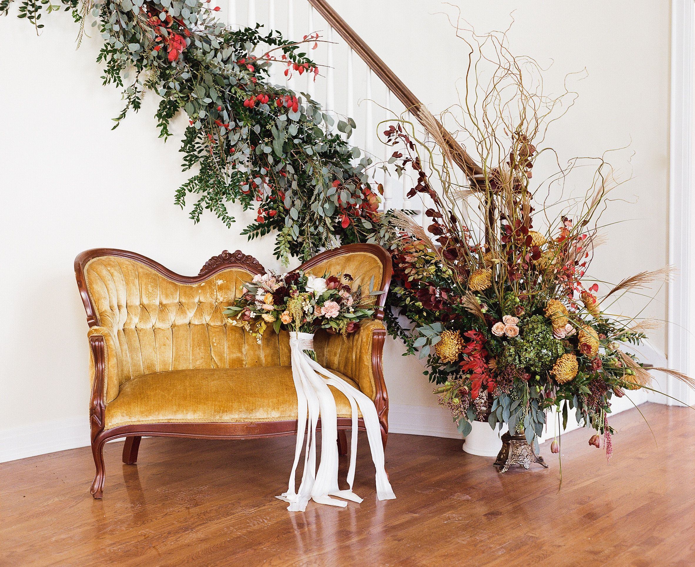 Lost And Found Vintage Rentals Dayton Ohio Our Autumn Settee Being Used For Bridal Detail Portrai Vintage Inspired Wedding Wedding Rentals Dayton Weddings