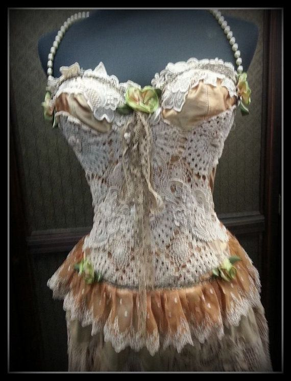 Beautiful Upcycled bustier in genuine antique and vintage trims and laces Size S Free Shipping Worldwide! by decadencedivine 149.00 USDFree Shipping WORLDW