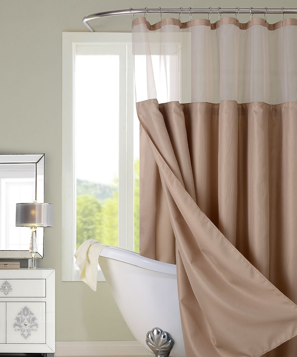 Mocha Hotel Sheer Top Shower Curtain Hotel Shower Curtain Gray Shower Curtains Shower Curtain Sets