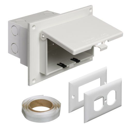 Arlington Dbhr1w 1 Outdoor Electrical Box With Weatherproof Cover For Flat Surface Constr Outdoor Electrical Outlet Electrical Outlet Covers Electrical Outlets