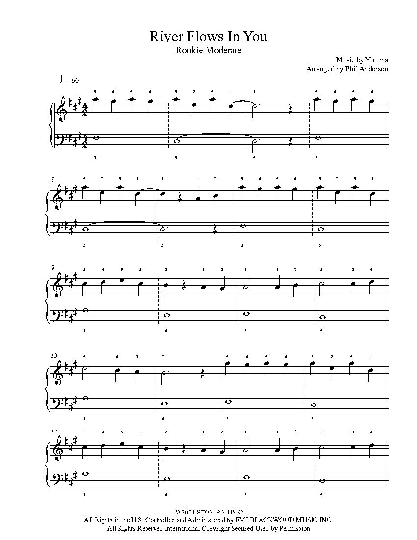 River Flows In You By Yiruma Piano Sheet Music Rookie