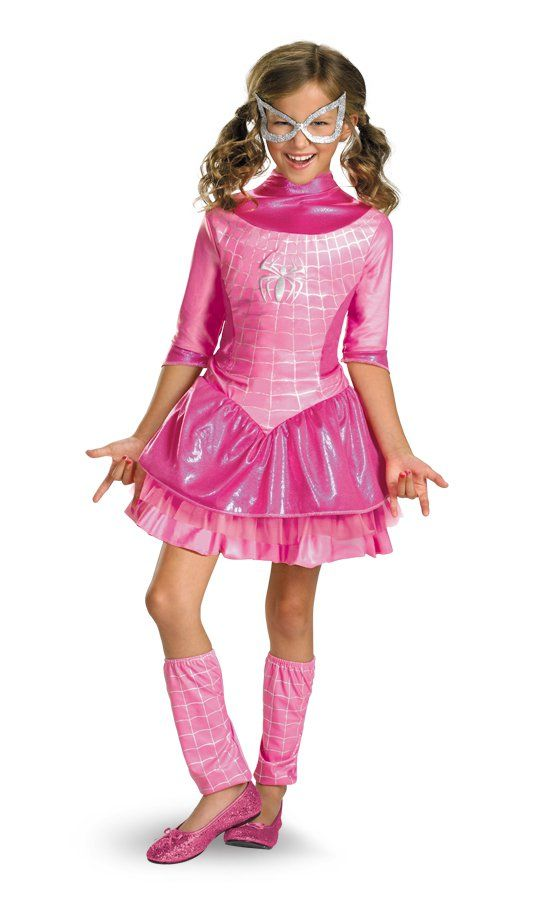 deluxe spidergirl pink child costume girl complete dress small 4 6
