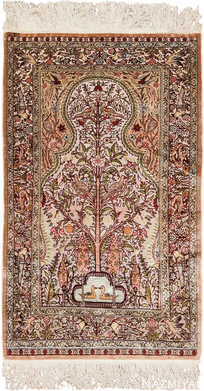 Metallic And Silk Souf Tree Of Life Hereke Turkish Prayer Rug 49612 Trendy Tree Family Tree Collage Tree House Drawing