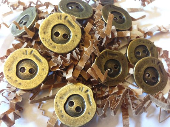 SALE, Bulk metal buttons, antiqued bronze, matching set of 30 pcs, 20 mm in diameter, work clothes, pants buttons, A055 on Etsy, $5.75