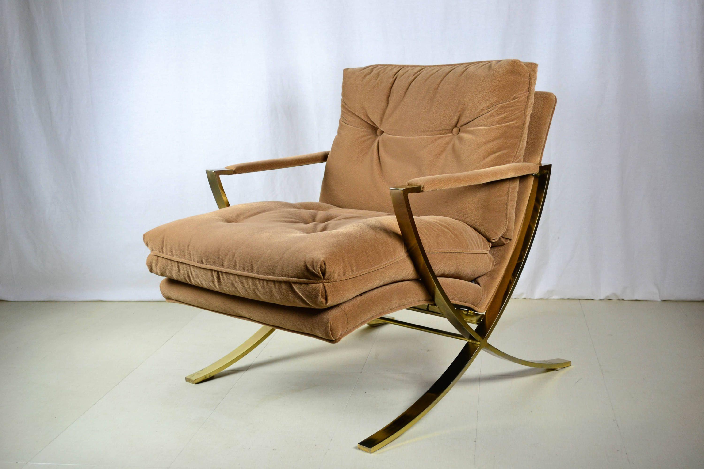 Mid century modern lounge chair brass textured suede brass home