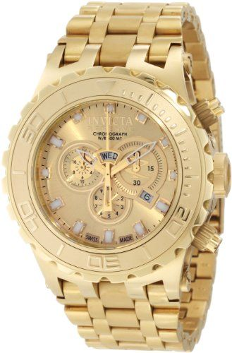 529525234fb Invicta Men s 6901 Subaqua Reserve Chronograph Gold Dial 18K Gold  Ion-Plated Stainless Steel Watch