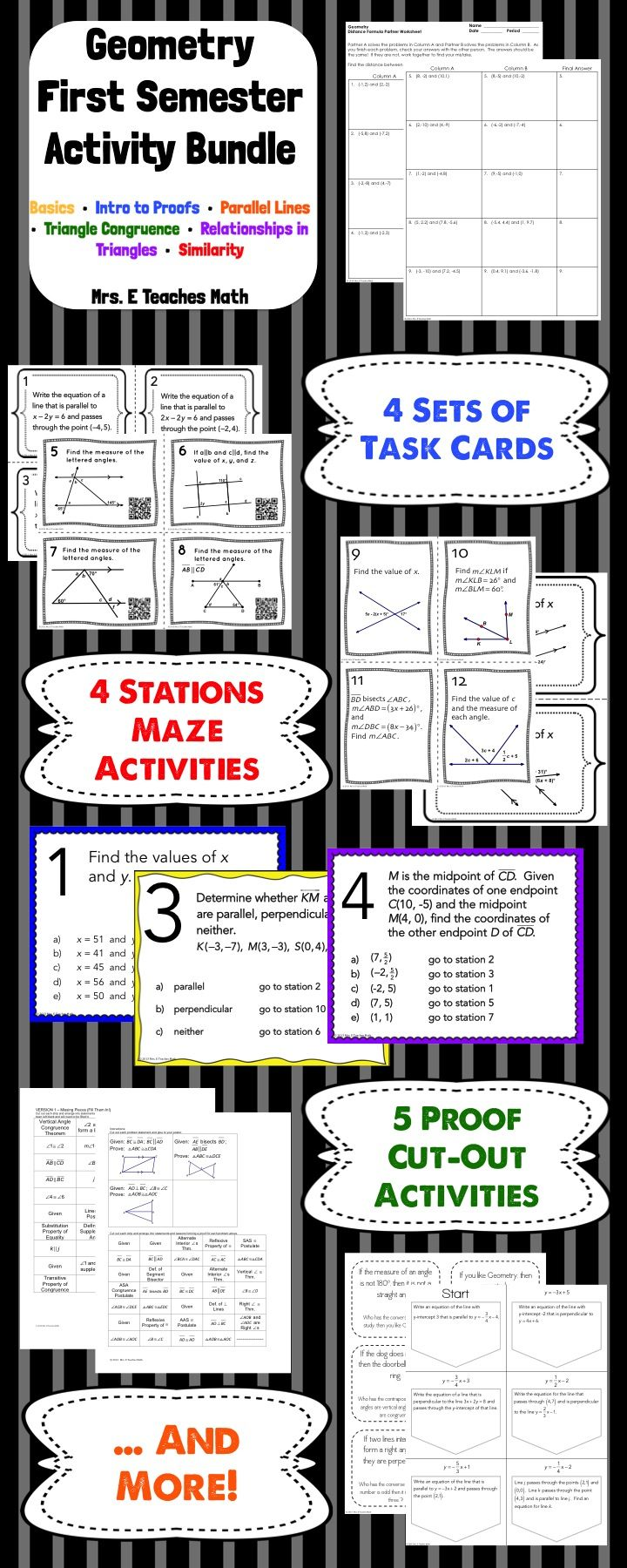 GEOMETRY ACTIVITY BUNDLE First Semester Teaching