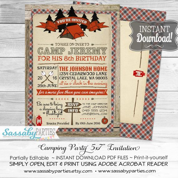 Camping Party Invitation - INSTANT DOWNLOAD - Partially Editable