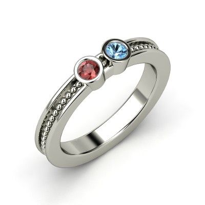 Sterling Silver Ring with Red Garnet $288