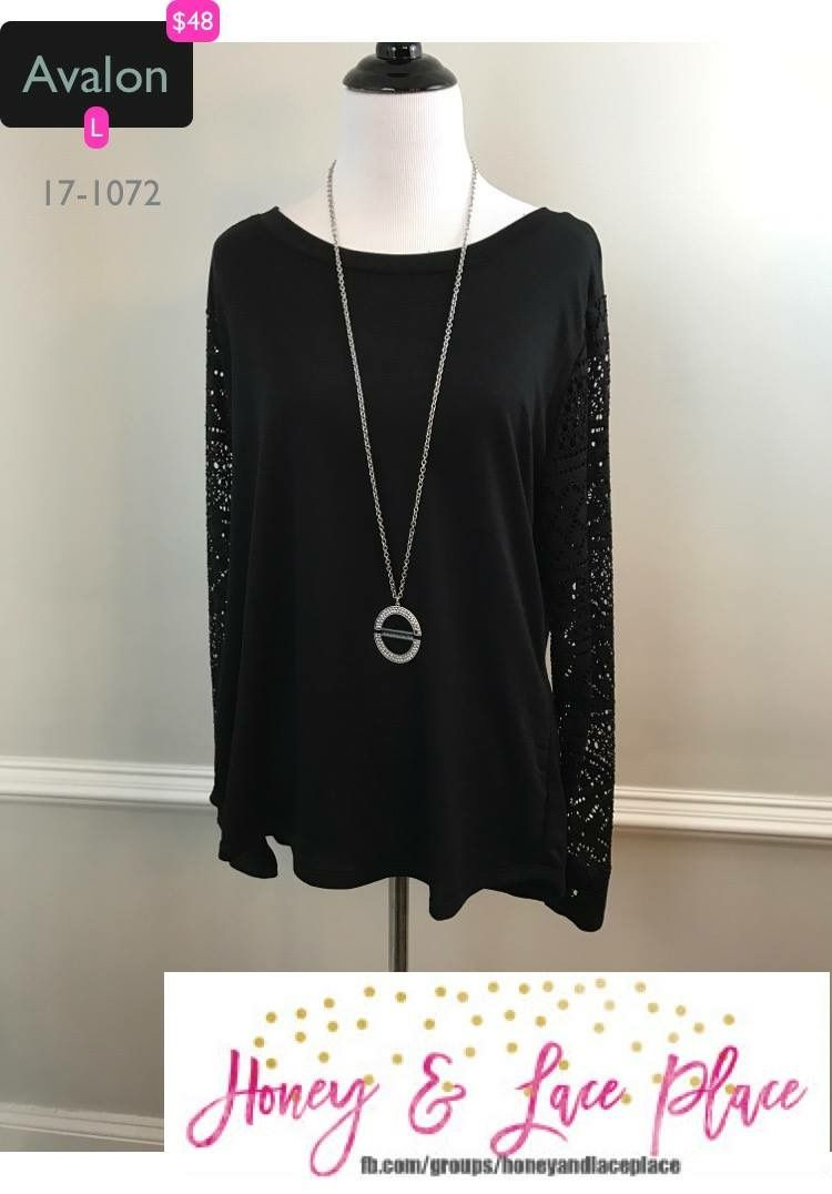 Lovely Lace sleeves on a black Avalon Sweater by H&L